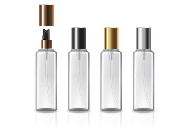 Белая квадратная косметическая бутылка с 4-цветным спреем и простой крышкой для красоты или здоровья.