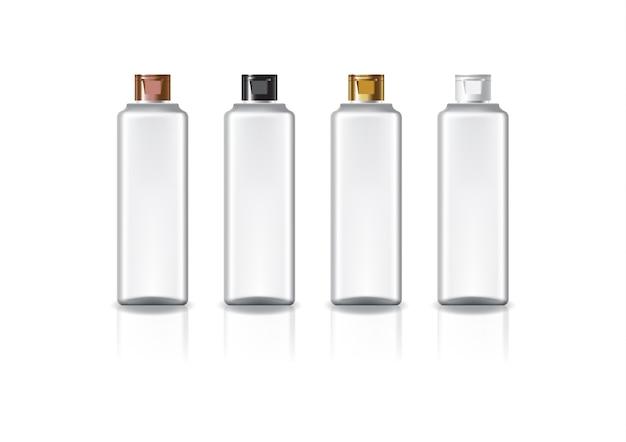 美容や健康製品のための色キャップ蓋付きの白い正方形の化粧品ボトル。反射の影と白い背景で隔離。パッケージデザインにすぐに使用できます。図。