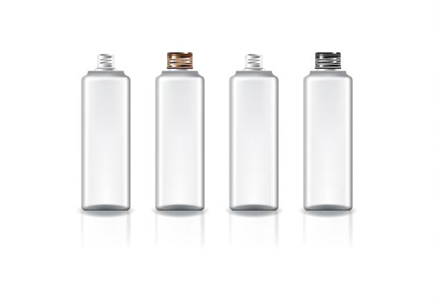 Белая квадратная косметическая бутылка с цветной медно-черной винтовой крышкой для красоты или здоровья