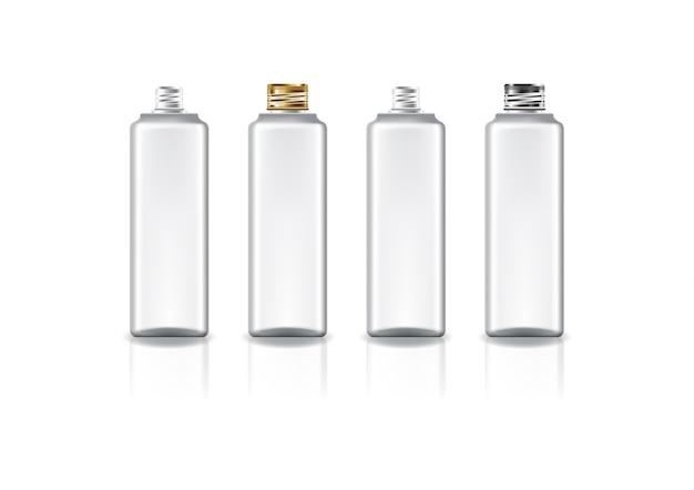 Белая квадратная косметическая бутылка с завинчивающейся крышкой цвета золота и серебра для красоты или здоровья продукта