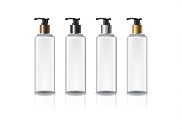 美しさ、健康的な製品のための色のポンプヘッド付きの白い正方形の化粧品ボトル。反射の影と白い背景で隔離。パッケージデザインにすぐに使用できます。図。
