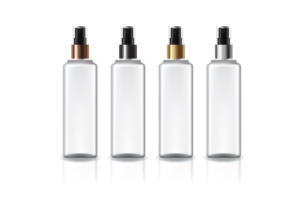 美容や健康製品のための色のスプレーヘッド付きの白い正方形の化粧品ボトル。反射の影と白い背景で隔離。パッケージデザインにすぐに使用できます。図。