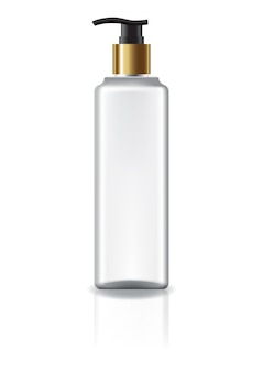 Белая квадратная косметическая бутылка с насосной головкой и золотым кольцом для красоты или здорового продукта.