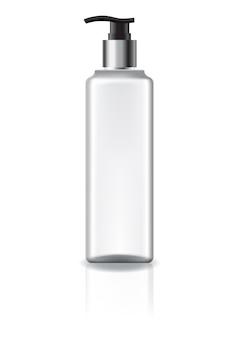 Белая квадратная косметическая бутылка с головкой насоса и серебряным кольцом.