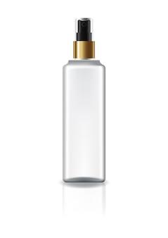 아름다움 또는 건강 제품 스프레이 헤드와 금 반지와 흰색 사각형 화장품 병.