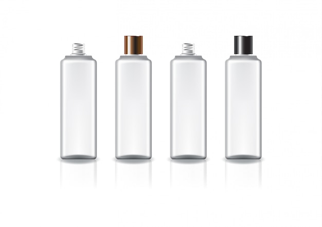 White square cosmetic bottle with two colors copper-black plain screw lid.
