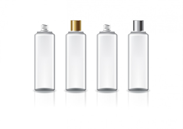 White square cosmetic bottle with two colors gold-silver plain screw lid.