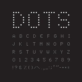 黒い背景に白い正方形のフォント。抽象的な幾何学的なベクトル文字。