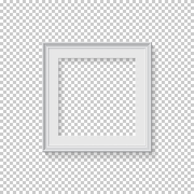White square frame for picture on transparent background blank space for picture card or photo
