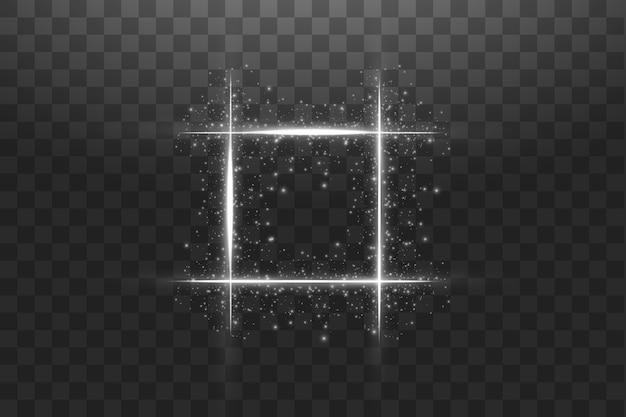 ライト効果のある白い四角いフレーム。