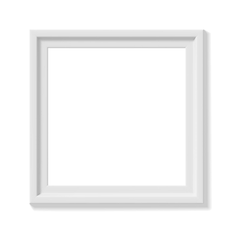 白い正方形の額縁。ミニマルな詳細な写真のリアルなフレーム。スクラップブッキング、アートワークのプレゼンテーション、ウェブ、チラシ、ポスターのグラフィックデザイン要素。ベクトルイラスト。