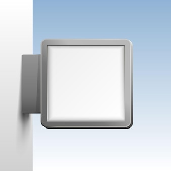 흰색 바탕에 흰색 사각형 간판입니다. 벡터 일러스트 레이 션