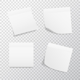 White square sticker set on transparent background. realistic stickers with folded edge.