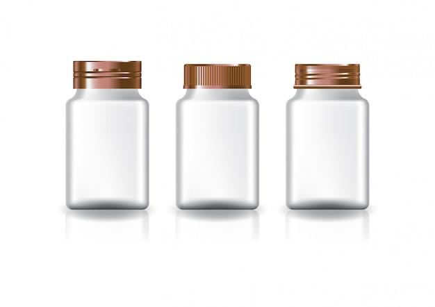 미용 또는 건강 제품을위한 흰색 사각형 보충제, 약병 (3 스타일 구리 뚜껑).