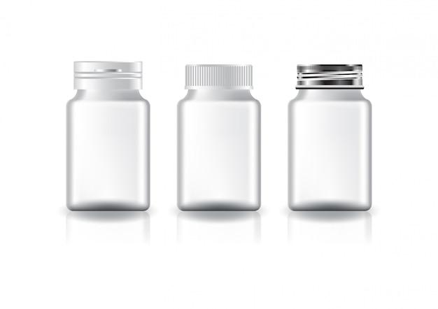 미용 또는 건강 제품에 대한 흰색 사각형 보충제, 약 병 (3 스타일 흰색 뚜껑).