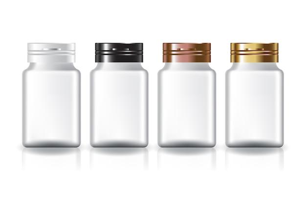 白い四角いサプリメント、薬瓶の色は、美しさや健康的な製品のための蓋を覆います。反射の影と白い背景で隔離。図。