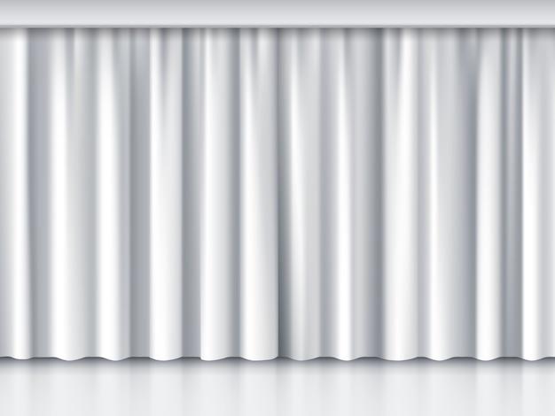 Белый сценический занавес. представление и событие, церемония и шоу, векторные иллюстрации