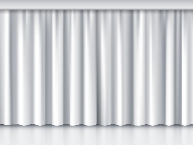 White stage curtain. performance and event, ceremony and show, vector illustration