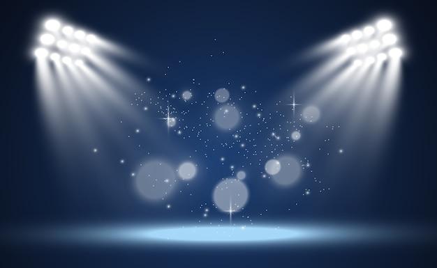 Белая сцена с прожекторами, иллюстрация света с блестками на прозрачном фоне