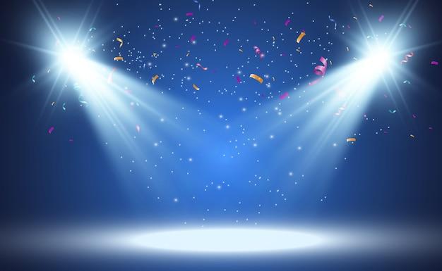 스포트 라이트가있는 흰색 무대. 투명 한 배경에 반짝임과 빛의 그림.
