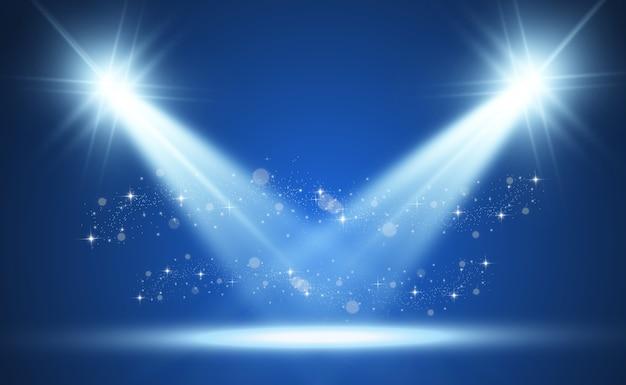 スポットライト付きの白いステージ。透明な背景に輝く光のイラスト。