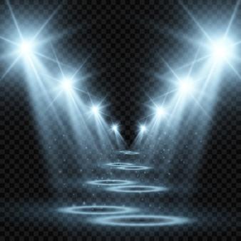 スポットライトと白いステージ。透明な背景の上で輝きと光のイラスト。