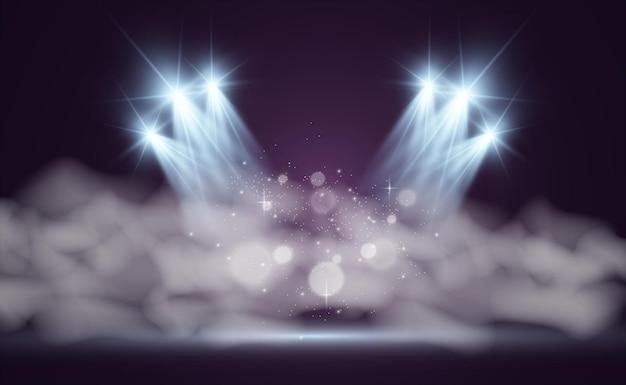 Белая сцена с прожекторами иллюстрации