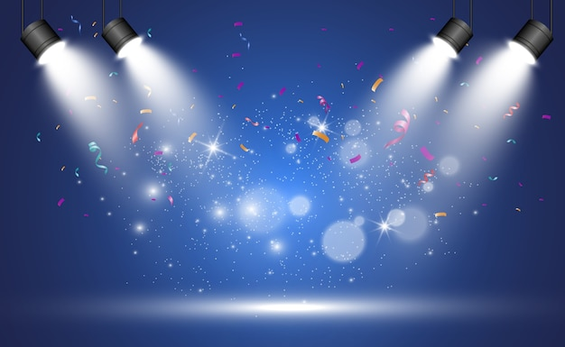 투명한 배경에 반짝임이있는 빛의 스포트라이트가있는 흰색 무대