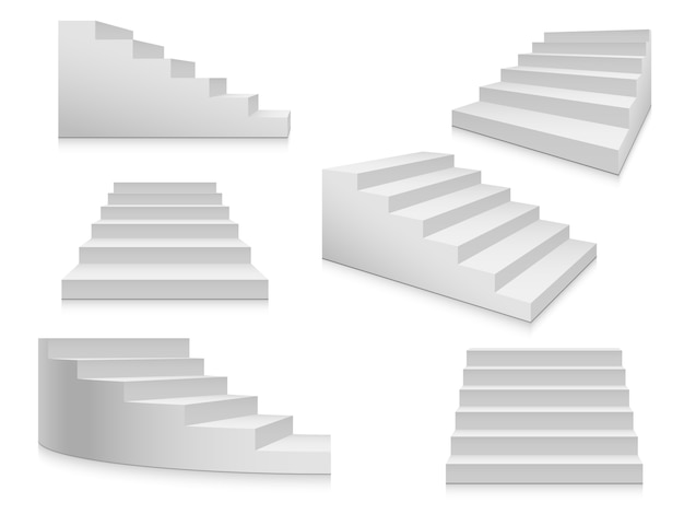 White stairs. staircase, 3d stairway, interior staircases isolated. steps ladder architecture element vector collection