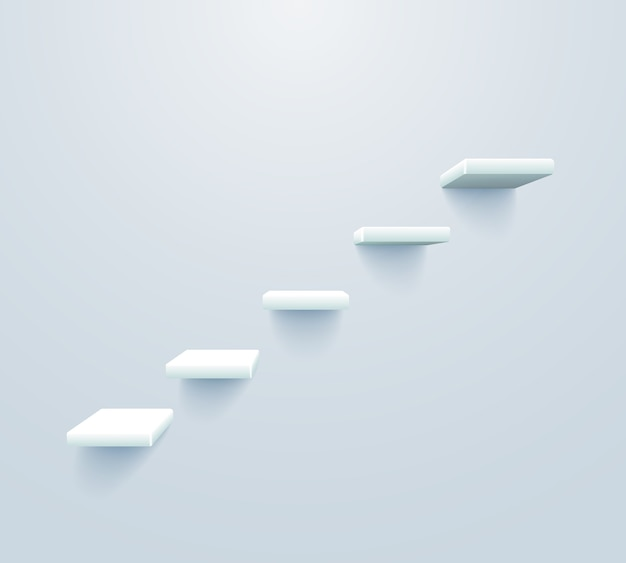 White stairs up. staircase to business success concept