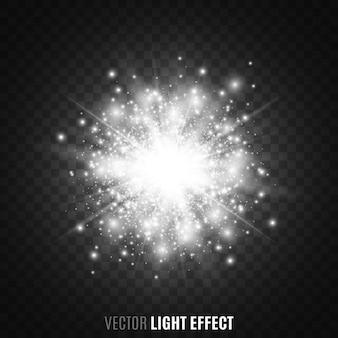 透明な背景に白い星明かり。フレア、輝き。光の効果。輝く粒子。きらびやかなライト。