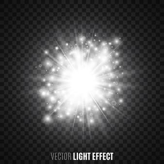 透明な背景に白い星明かり。フレア、輝き。光の効果。