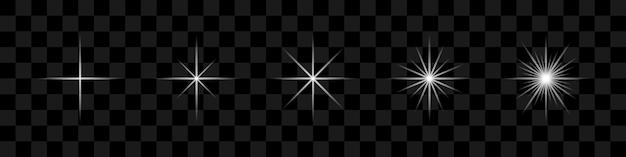 Белые звезды светящиеся световой эффект на прозрачном фоне