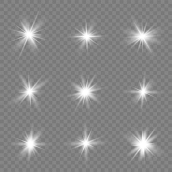 White stars, light, lens flare, sun flash, spark.