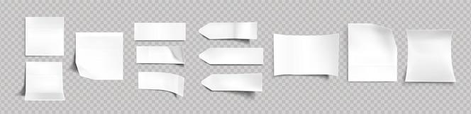 Белые наклейки разной формы с тенью и загнутыми краями, бирки, липкие заметки для макета памятки, изолированные на прозрачном фоне. бумажная клейкая лента, пустые заготовки, реалистичный набор векторных 3d