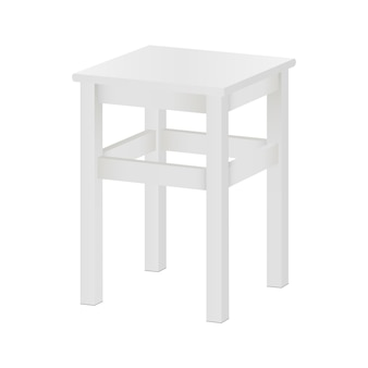 White stool mockup isolated - side view. square wood tabouret on four legs.