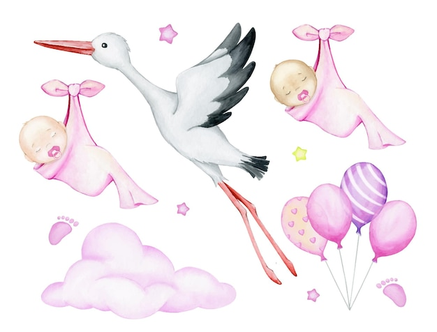 White, stork, babies, sleeping, wrapped in a sheet, cloud, balloons, stars. watercolor set.