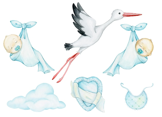 White, stork, babies, sleeping, wrapped in a sheet, cloud, clothes. watercolor set, elements, for, festive, illustrations.