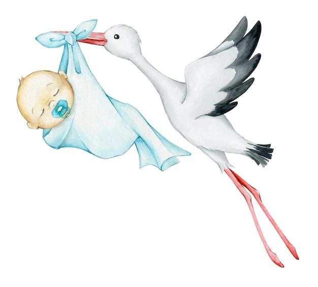 흰 황새는 파란색 천으로 아기를 안고 있습니다. 수채화 클립 아트,