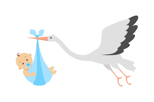 White stork flying with newborn baby. child birth announcement. greeting card for baby born celebration.    illustration