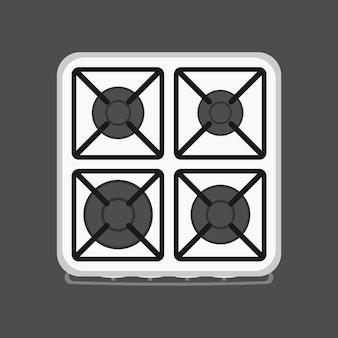白いストーブの上面図。ガスストーブ。キッチン用のモダンなストーブ。フラットスタイル。孤立