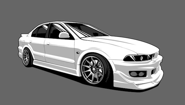 Белый уличный гоночный автомобиль старой школы векторные иллюстрации.
