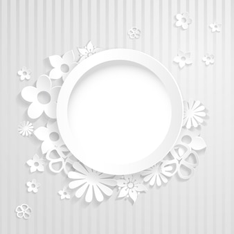 White striped background with ring and flowers cut out of paper