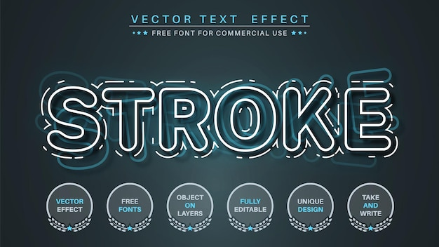 White stroke - editable text effect,  font style.