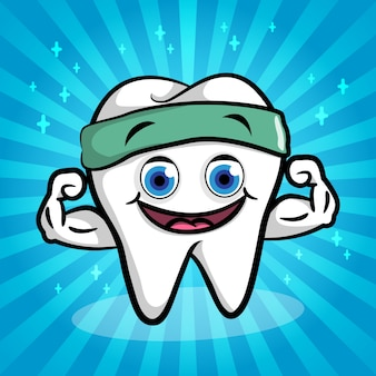 White strong tooth cartoon