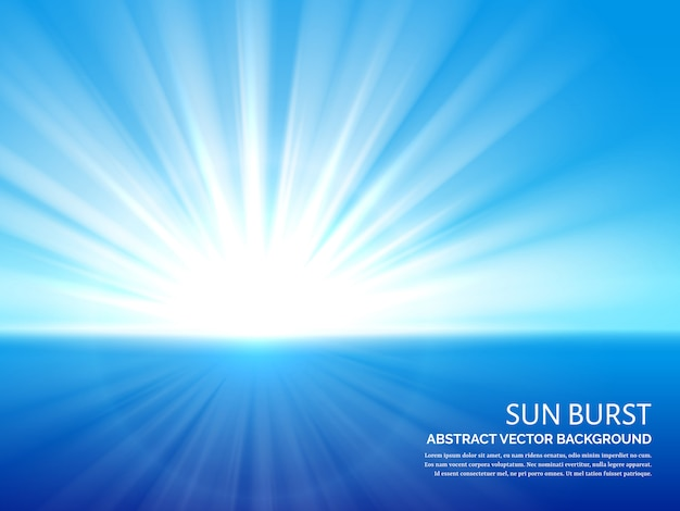 White sun burst in blue sky background