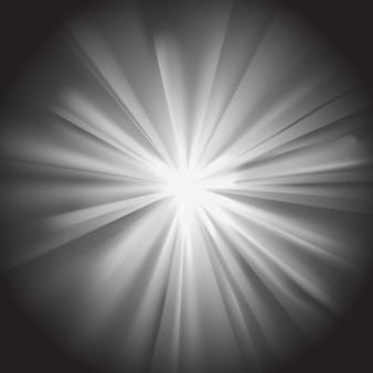暗い背景にフレアと白い太陽光線。透明感のあるギラギラ効果。ベクトルイラスト