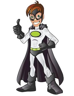 Белый супергерой в маске, показывающий большой палец