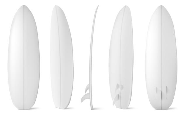 흰색 서핑 보드 전면, 측면 및 후면보기. 여름 해변 활동, 바다 파도에 서핑에 대 한 빈 긴 보드의 현실. 레저 스포츠 장비는 흰색 배경에 고립