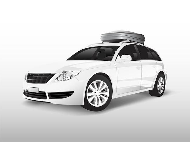 White suv with a roof storage box